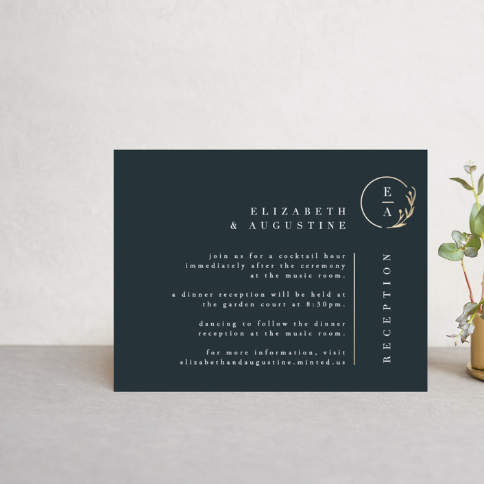 """""""For Eternity"""" - Foil-pressed Reception Cards in Midnight by Ana de Sousa."""