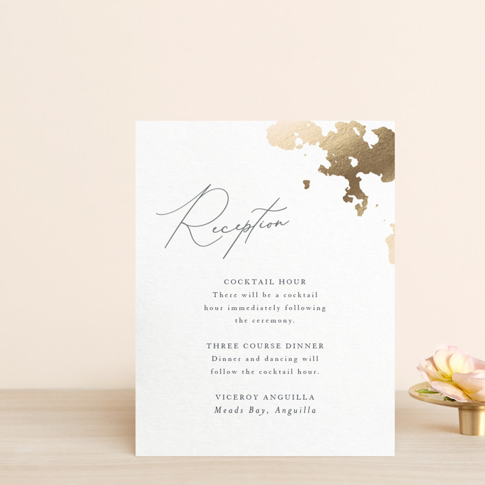 """""""far and away"""" - Foil-pressed Reception Cards in Lily by Design Lotus."""