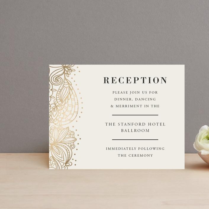 """Elegant Henna"" - Foil-pressed Reception Cards in Champagne by Oma N. Ramkhelawan."