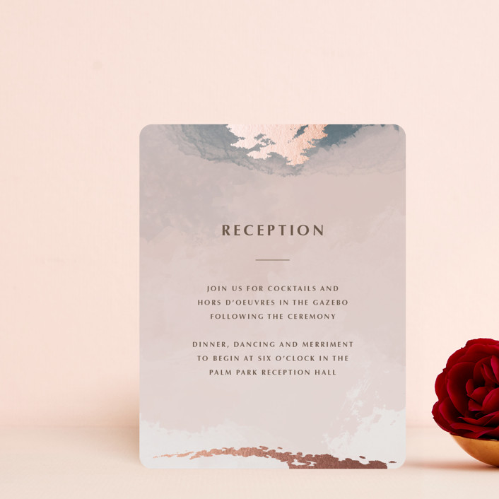 """""""Watercolor Sunset"""" - Foil-pressed Reception Cards in Sunset Rose by Stellax Creative."""