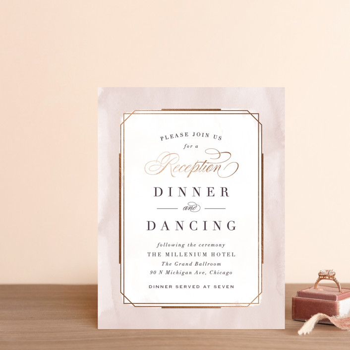 """""""Forever Elegant"""" - Foil-pressed Reception Cards in Mauve by Hooray Creative."""