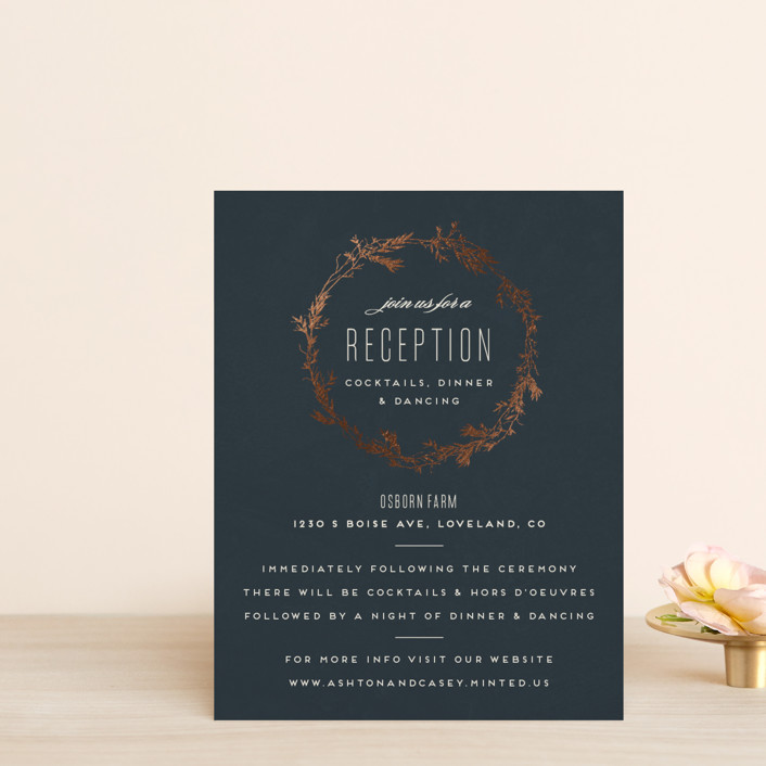 """""""Intertwined"""" - Foil-pressed Reception Cards in Charcoal by Carolyn Nicks."""