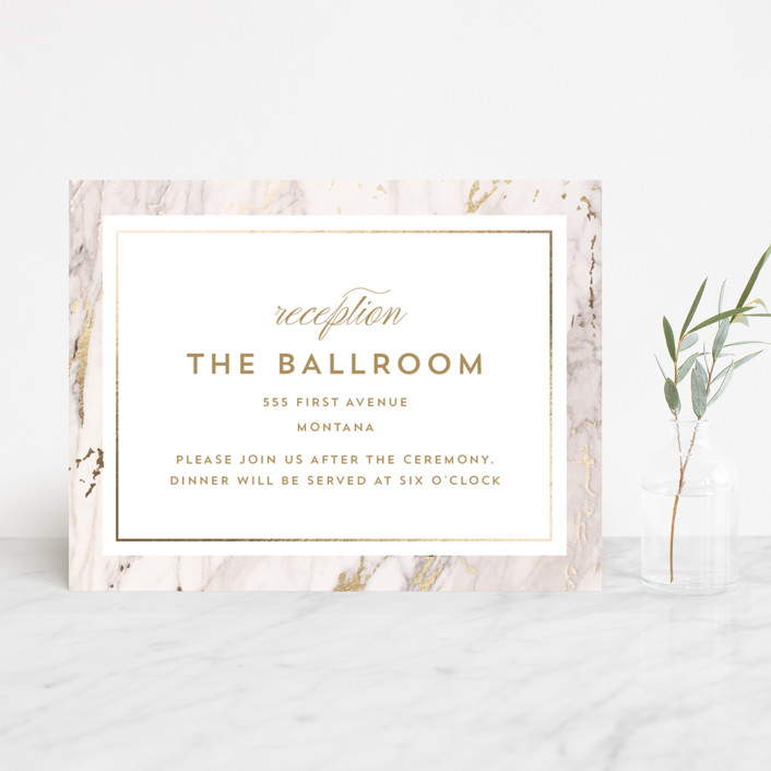 """Marble Matrimony"" - Foil-pressed Reception Cards in Mountain by AK Graphics."