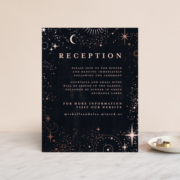 """""""look at the stars"""" - Bohemian Foil-pressed Reception Cards in Midnight by Anastasia Makarova."""