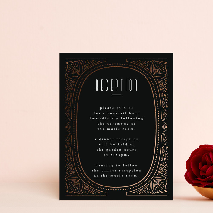 """""""Deco Starbust"""" - Vintage Foil-pressed Reception Cards in Onyx by Ana de Sousa."""