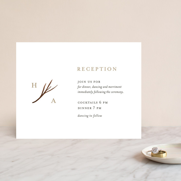 """""""antler"""" - Foil-pressed Reception Cards in Ivory by Robin Ott."""