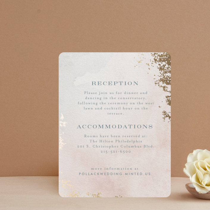 """""""Burnished"""" - Foil-pressed Reception Cards in Blush by Heather Cairl."""