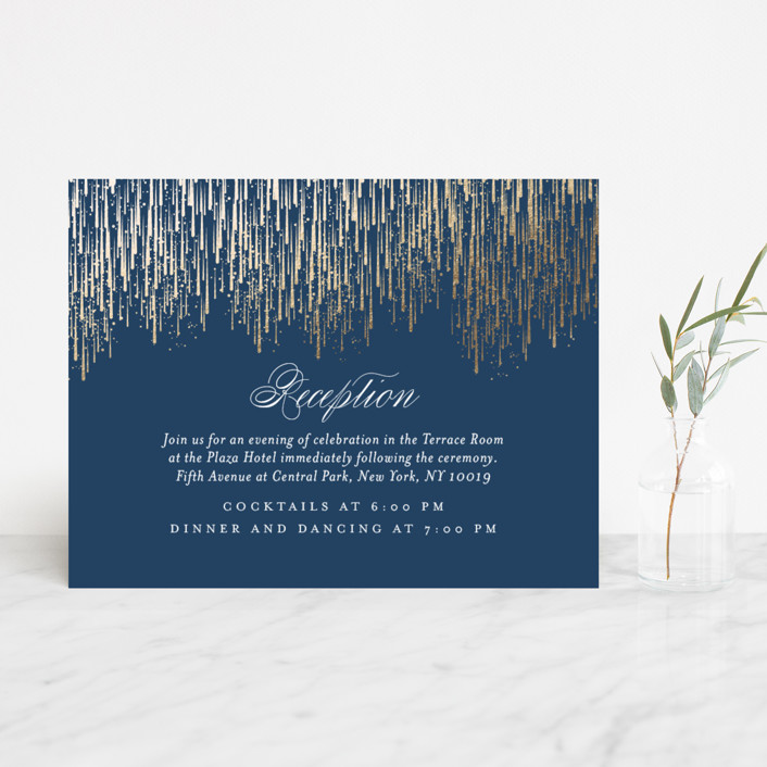"""Cascade"" - Foil-pressed Reception Cards in Navy by Kristie Kern."