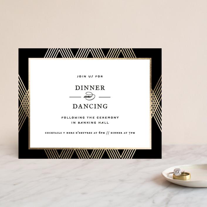 """Grandiose"" - Foil-pressed Reception Cards in Onyx by Jennifer Postorino."