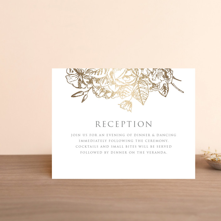 """Gilded Wildflowers"" - Foil-pressed Reception Cards in Golden by Smudge Design."