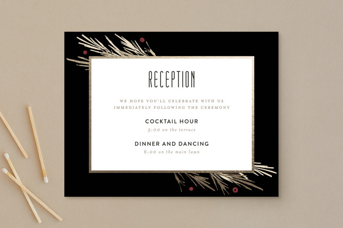 """Winter Berry"" - Rustic Foil-pressed Reception Cards in Tuxedo by Kelly Nasuta."