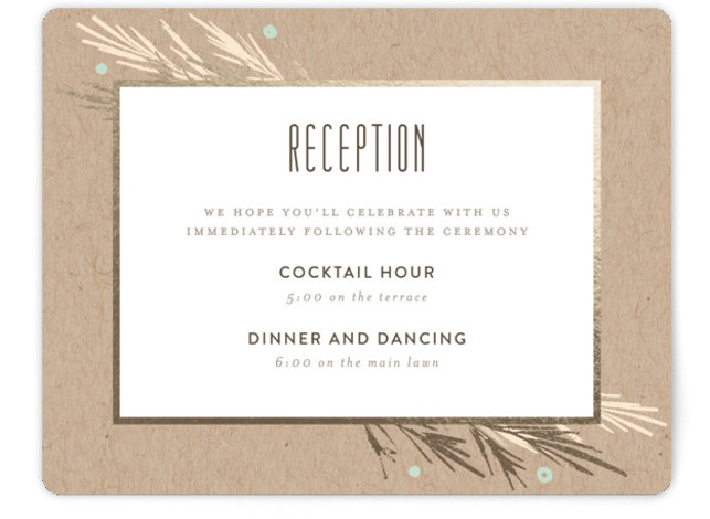 This is a landscape rustic, brown, white, gold Reception Cards by Kelly Nasuta called Winter Berry with Foil Pressed printing on Signature in Card Flat Card format. Classic invite for a winter wedding