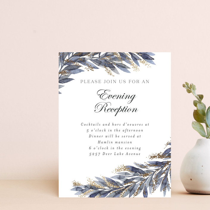 """""""winter elegance"""" - Bohemian Foil-pressed Reception Cards in Winter by Alexandra Dzh."""