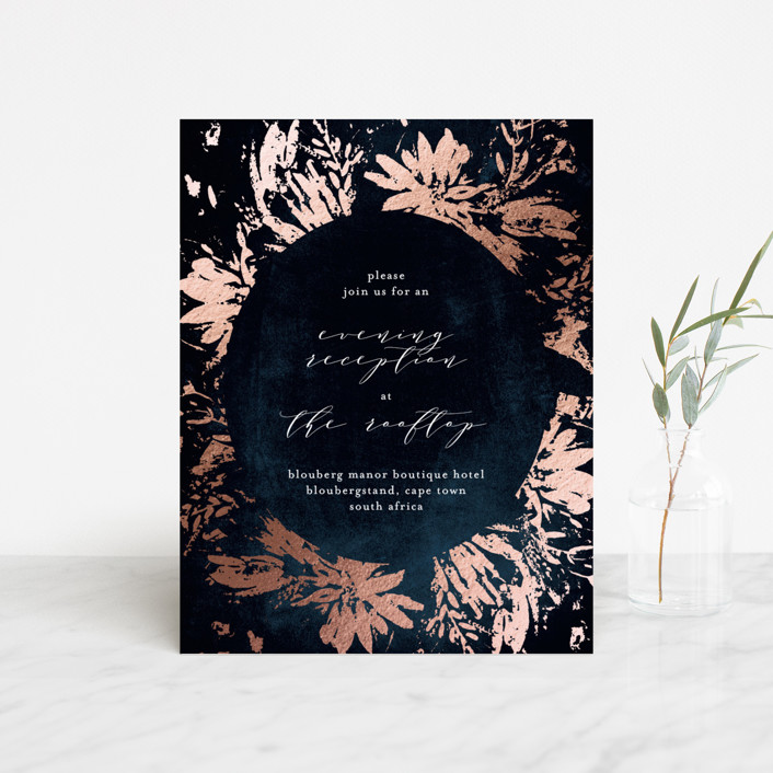 """Pressed Flowers"" - Modern Foil-pressed Reception Cards in Navy by Phrosne Ras."