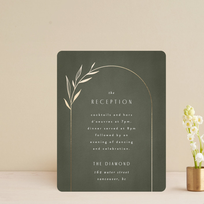 """""""Botanical Arches"""" - Bohemian Foil-pressed Reception Cards in Moss by Kelly Schmidt."""