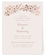 This is a pink foil stamped wedding invitation by Jennifer Wick called Among the Flowers with foil-pressed printing on signature in standard.