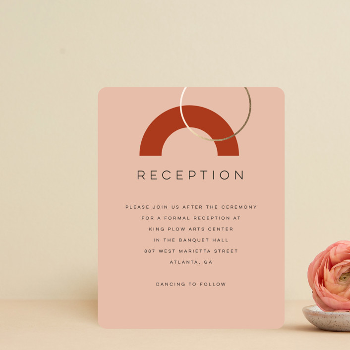 """Bauhaus Shapes"" - Modern Foil-pressed Reception Cards in Terracotta by Morgan Kendall."