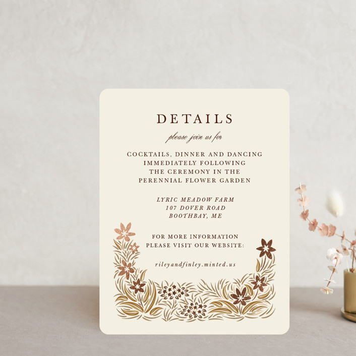 """""""In the country"""" - Rustic Foil-pressed Reception Cards in Chestnut by Paper Sun Studio."""