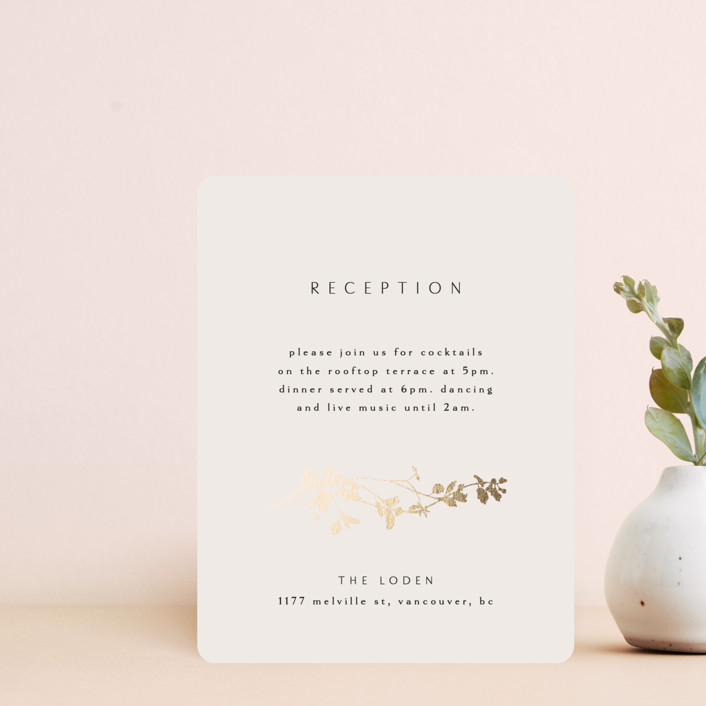 """""""Mist"""" - Foil-pressed Reception Cards in Ivory by Kelly Schmidt."""