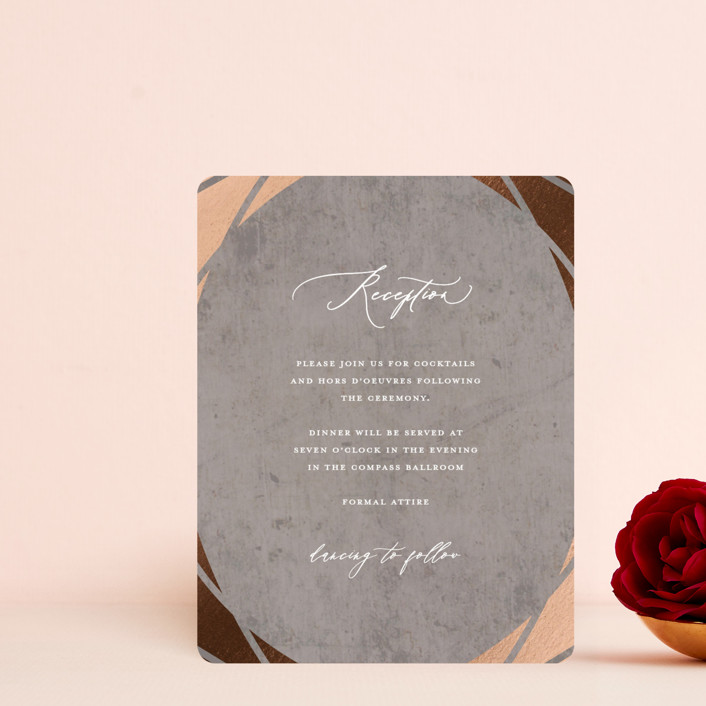 """""""Mirror, Mirror"""" - Foil-pressed Reception Cards in Taupe by fatfatin."""