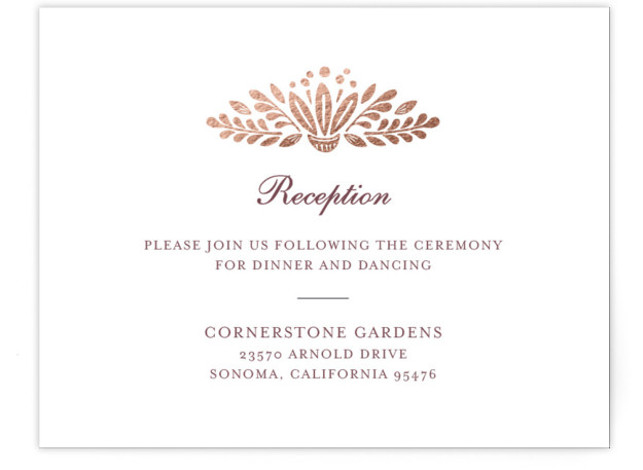 This is a landscape botanical, illustrative, rustic, whimsical, rosegold Reception Cards by Griffinbell Paper Co. called Isola Bella with Foil Pressed printing on Signature in Card Flat Card format. The classic tree motif interpreted to showcase botanical flourishes and woodcut ...