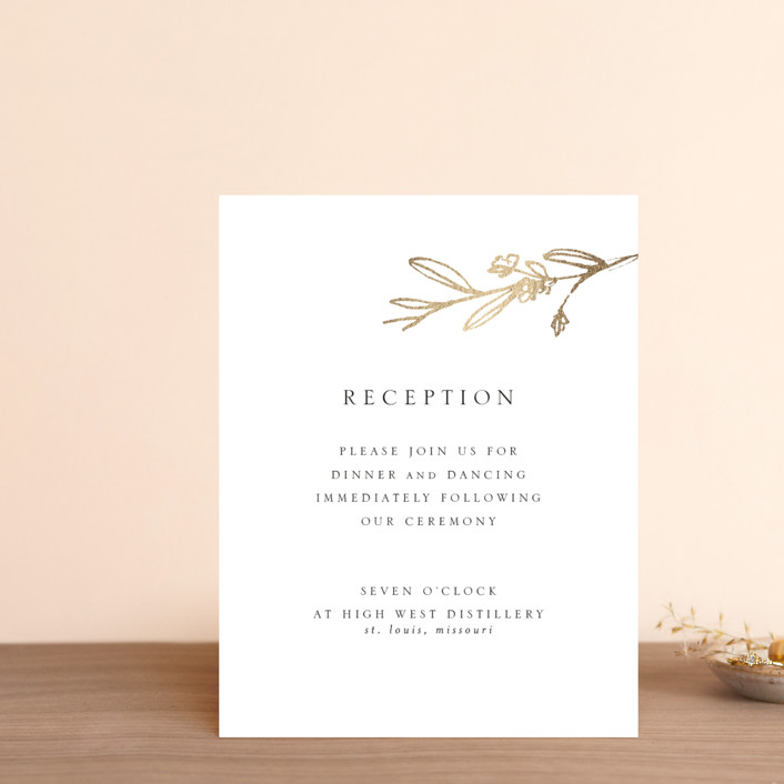 """""""Metallic Branches"""" - Rustic Foil-pressed Reception Cards in Gold by Mere Paper."""