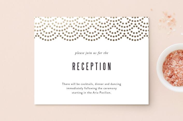 """Shimmer"" - Vintage Foil-pressed Reception Cards in Indigo by Kampai Designs."