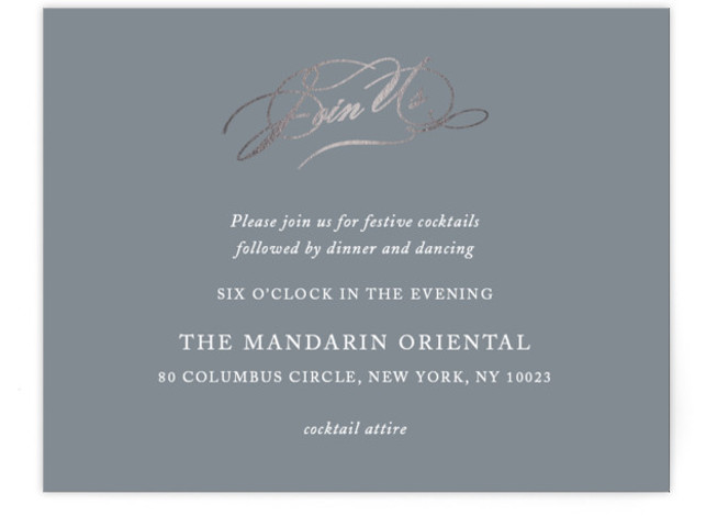 This is a landscape classic and formal, simple and minimalist, grey Reception Cards by Kimberly FitzSimons called Timeless Grace with Foil Pressed printing on Signature in Card Flat Card format. A timeless and versatile wedding invitation with a mix of ...