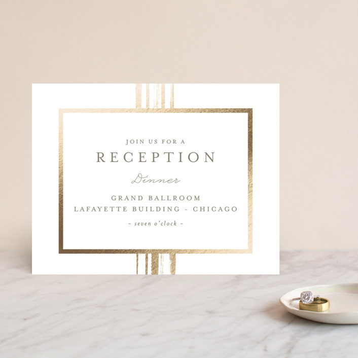 """Bianco"" - Modern Foil-pressed Reception Cards in Gold by chocomocacino."