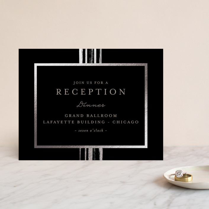 """""""Bianco"""" - Modern Foil-pressed Reception Cards in Gold by chocomocacino."""