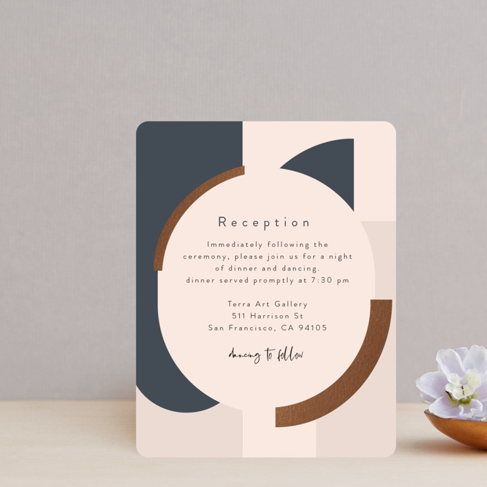 """""""Blocks of Color"""" - Modern Foil-pressed Reception Cards in Natural Slate by Maria Hilas-Louie."""
