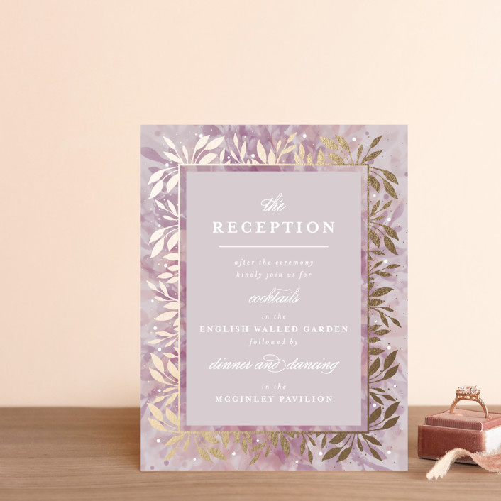 """botanical bokeh"" - Foil-pressed Reception Cards in Lilac by Angela Marzuki."