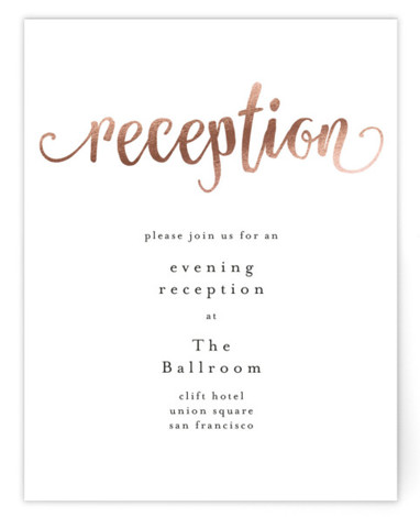 This is a portrait whimsical, rosegold Reception Cards by Phrosne Ras called Love Letters with Foil Pressed printing on Signature in Card Flat Card format. An impressive typography design