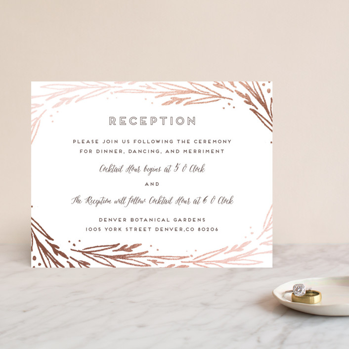 """""""Modern Branches"""" - Rustic Foil-pressed Reception Cards in Rose Gold by Grace Kreinbrink."""