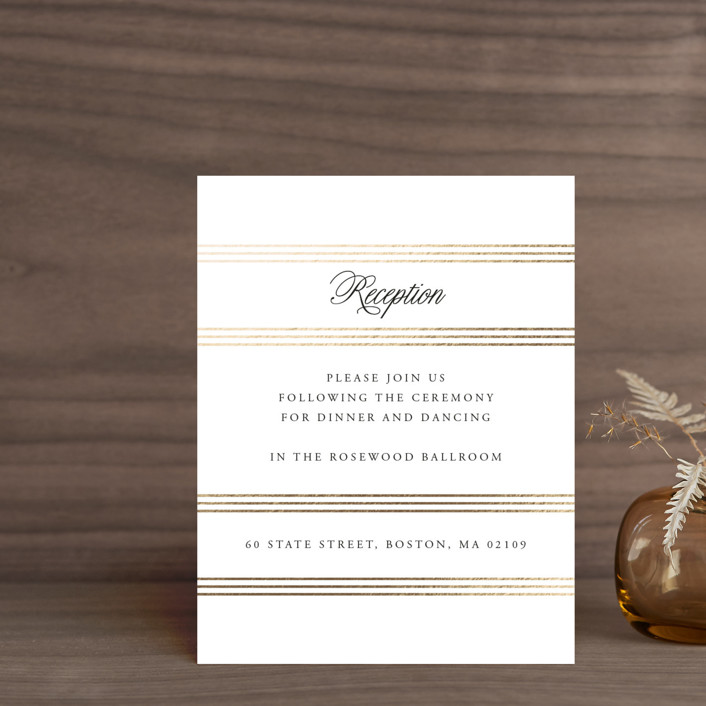 """""""Luxe Pinstripes"""" - Foil-pressed Reception Cards in Linen by Jill Means."""