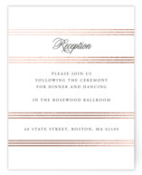 This is a white foil stamped wedding invitation by Jill Means called Luxe Pinstripes with foil-pressed printing on signature in standard.