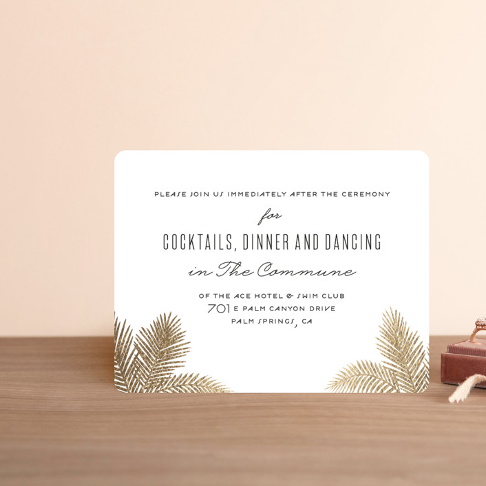 """""""Gilded Palms"""" - Foil-pressed Reception Cards in Cotton by carla san roman."""