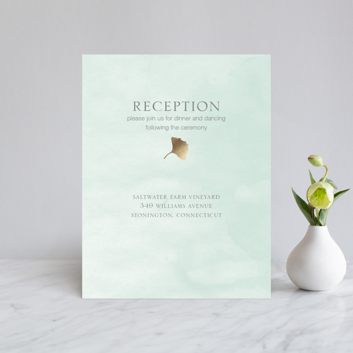 """""""Ginkgo Flutters"""" - Bohemian Foil-pressed Reception Cards in Mint by Monica Cheng."""
