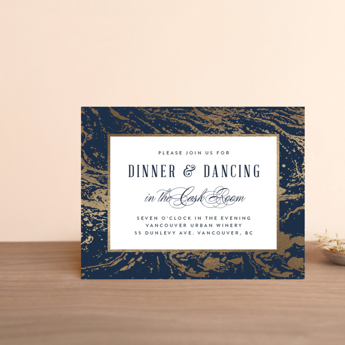 """Modern Marble"" - Rustic Foil-pressed Reception Cards in Cloud by Kelly Schmidt."