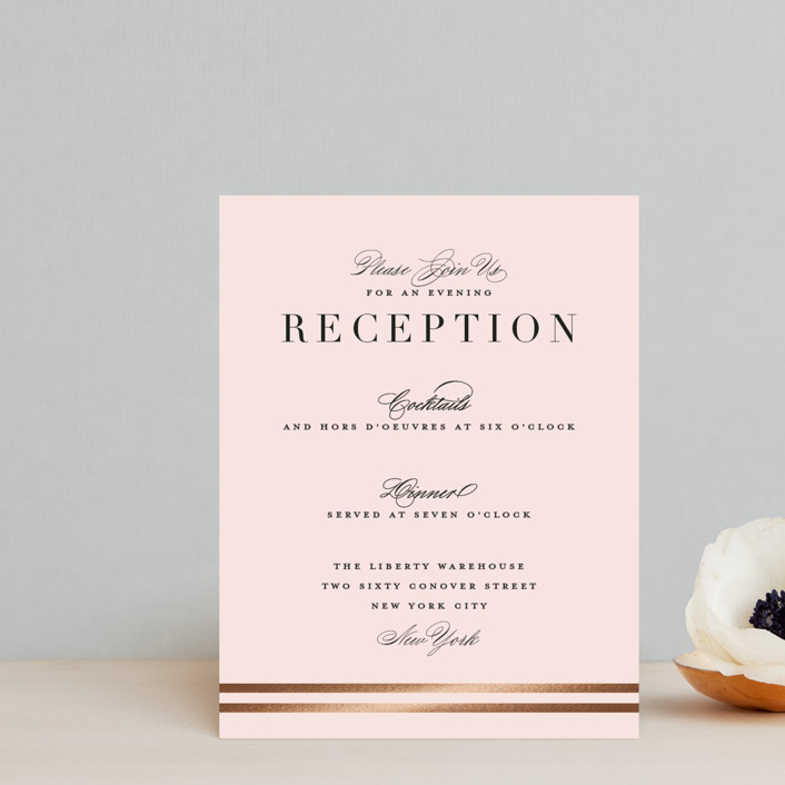 """Enchanted Evening"" - Foil-pressed Reception Cards in Blush by Ashley DeMeyere."