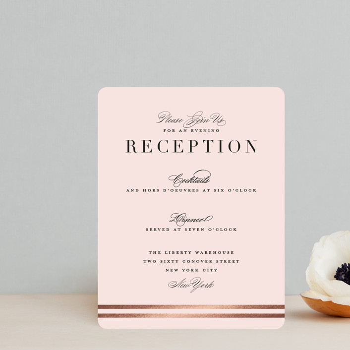 """""""Enchanted Evening"""" - Foil-pressed Reception Cards in Blush by Ashley DeMeyere."""