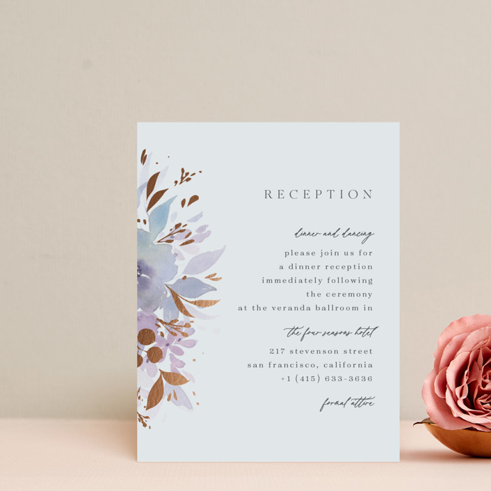 """""""Frosted Blossoms"""" - Foil-pressed Reception Cards in Frost by Four Wet Feet Studio."""