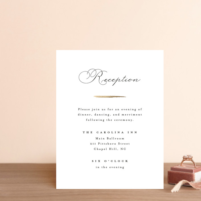 """""""Gilded Edge"""" - Foil-pressed Reception Cards in Moonstone by Pink House Press."""