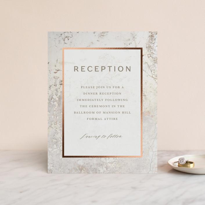 """""""Juniper"""" - Modern Foil-pressed Reception Cards in Cream by Basil Design Studio."""