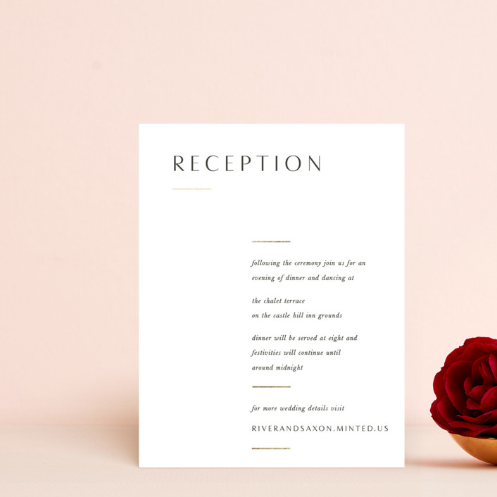 """""""Accent"""" - Foil-pressed Reception Cards in Cotton by Blustery August."""