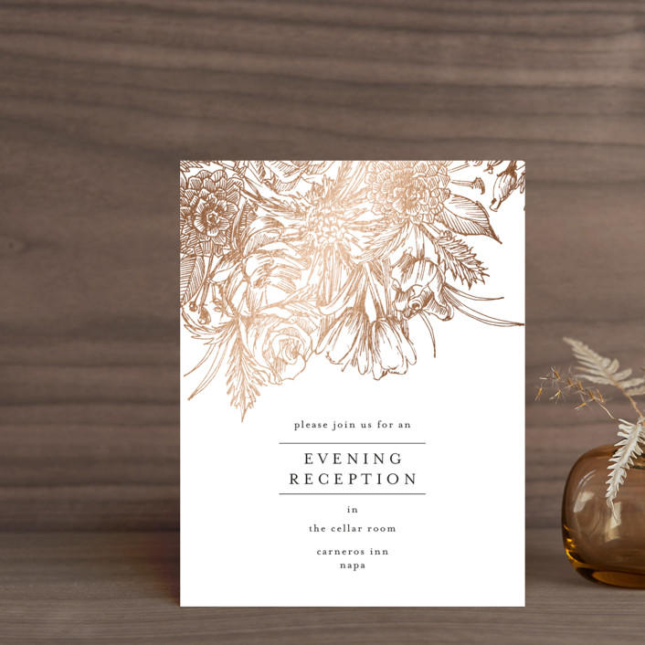 """Sketched Bouquet"" - Foil-pressed Reception Cards in Petal by Phrosne Ras."