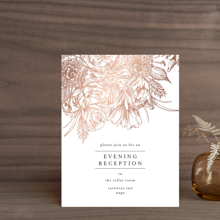 """""""Sketched Bouquet"""" - Foil-pressed Reception Cards in Petal by Phrosne Ras."""