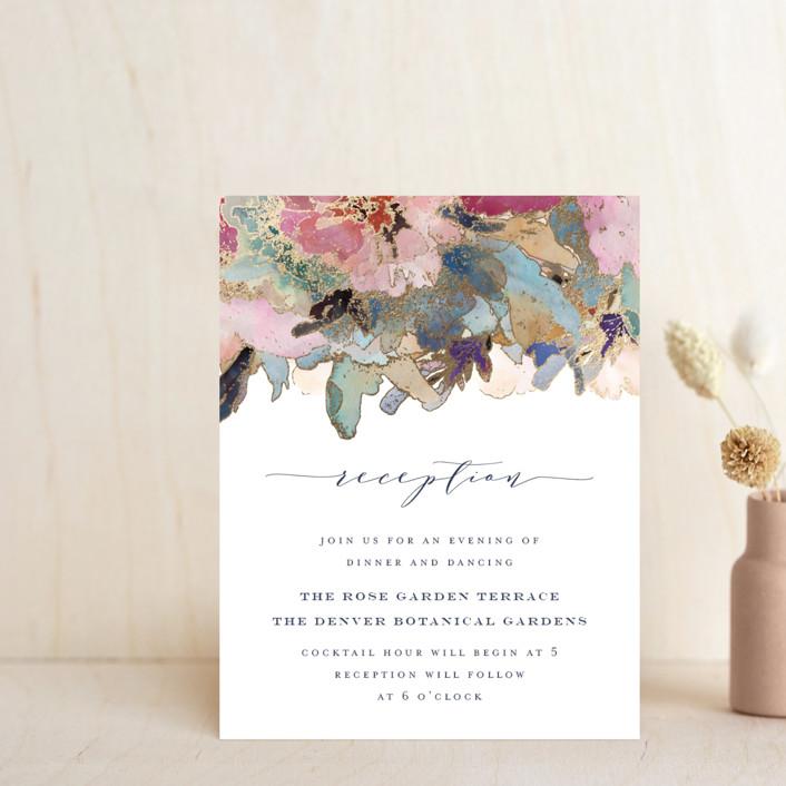 """Gilded Drape"" - Foil-pressed Reception Cards in Fruitcake by Grace Kreinbrink."