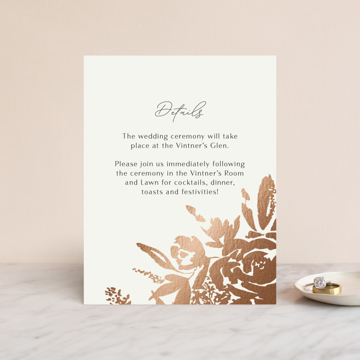 """""""Wedding veil"""" - Foil-pressed Reception Cards in Goldenrod by Chris Griffith."""
