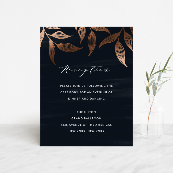 """Elegance"" - Rustic Foil-pressed Reception Cards in Sapphire by Roopali."